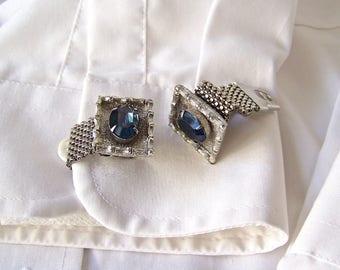 Vintage Cuff Links Mesh Wrap Blue Glass Stone Silver Tone Men's Jewelry 1960s