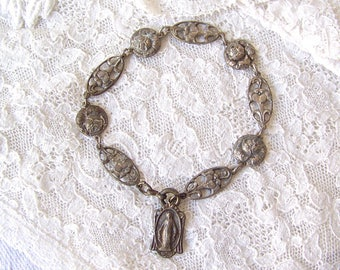 Vintage Childs Bracelet Virgin Mary Christian Religious Medals Italy 1960s Free Shipping US
