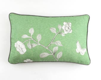 ON SALE Schumacher Mary McDonald Chinois Palais Pillow in Lettuce Green with Grey Welting (Both Sides-14 X 22)