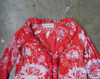 Vtg 90s Sheer Floral Mesh Blouse in Red and White Ruffle Size Small Medium