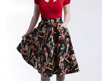 Western Print Swing Skirt