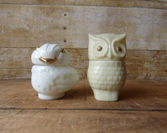 Two Owl Bottles - Vintage Avon -  Snowy Bird - Precious Owl Glass Sachet Bottles