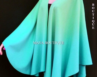 Cashmere Cape Ruana Wrap Ombres Hand Dyed Light Blue Turquoise & Misty Green Jade Maya Matazaro