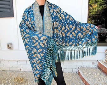 Vintage Blue Silk Chiffon Shawl with  Matching SilkTassels Fringe by the Old Silk Route