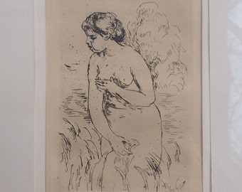 Pierre-Auguste Renoir Vintage Etching Baigneusse De Bout, A Mi-Jambes Framed Standing Bather Restrike