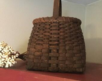 Extreme Primitive Painted Basket, Americana Decor, Primitive Home, 1803 Ohio Farm Baskets, Tote Basket, Market Basket, Milk Paint, OOAK