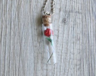 Beauty and the Beast BELLE Inspired Rose Necklace 44x11mm Cork Glass Bottle Disney