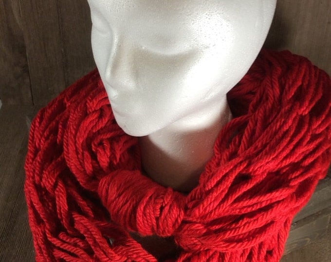 Super Bulky Arm Knit  Infinity Scarf ~ Cincinnati Red