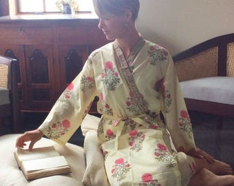 ON SALE Women's Robe, Cotton Robe, Kimono, Handmade Robe, Summer Robe, Shipping Included in the U.S.