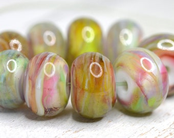 lamp work beads...SRA handmade, watercolor swirled lampwork beads, soft colors, beads set of (9) for making jewelry 11017-15