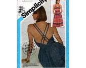 """UNCUT Open Back Sundress Sewing Pattern Vintage 80s Dress with Spaghetti Straps Size 10 12 14 Bust 32-36"""" (83-92 cm) Simplicity 6391 G"""