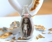 RESERVED FOR M - Dear Saphiret Fairy - Tiny Art Deco Watch With Removable Miniature Fairy and Saphiret Inside