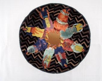 Walking the Earth fabric bowl Indian women black blue tan chevrons southwest