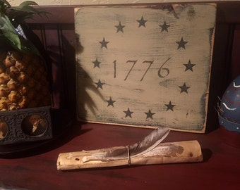 1776 flag board in blue or cream, primitive colonial 1776 flag