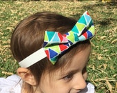 Girl Hair Bow - Colorful Triangles