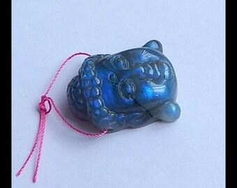 Carved Labradorite Buddha Head Gemstone Pendant Bead,31x23x12mm,13.8g