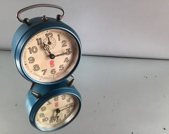 Desk accessory Her, Antique French 1950's SMI alarm clock, gift for her, unique desk clock, best hostess gifts, vintage alarm clock, desktop