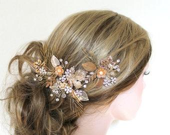 Gold Bridal Leaf Vine Hair Clip Set. Rustic Wedding Floral Headpiece. Bohemian Crystal Spray Hair Pin. Rhinestone Hair Comb. LEAH