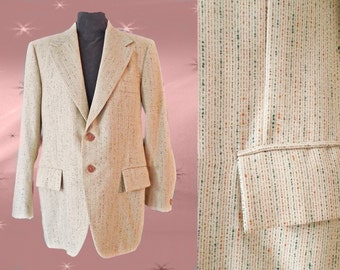 Men's Vintage Sport Coat - 70s Summer Suit Jacket - 42 Short