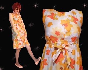 Swimsuit Cover Up, Short Mod Sundress, Mod Summer Dress, Empire Waist Vintage Nalii Hawaiian Dress with Deep Pockets