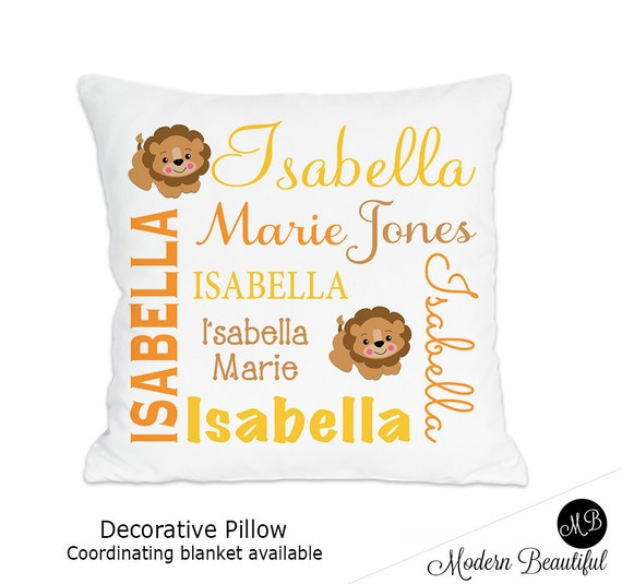 Lion name pillow for baby girl or baby boy personalized baby gift il570xn negle Images