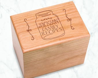 Personalized Cherry Recipe Box Mason Jar Engraved - Kitchen Bridal Shower 4x6 inch recipe cards