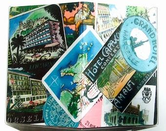 Passport Cover: Vintage Luggage Labels Design, Pinks & Aqua Blues