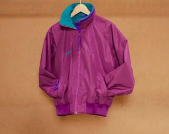 90s COLOR BLOCK neon womens SKI purple & teal rain coat columbia Jacket