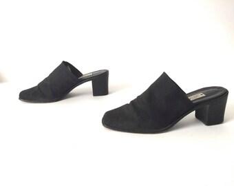 MULES vintage BLACK square toe vintage slip on PLATFORM heels size 7