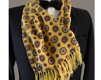 Vintage Scarf. 1960s Men's Fringed Scarf. 60s Mod Sammy Scarf. Yellow Tuxedo Scarf.