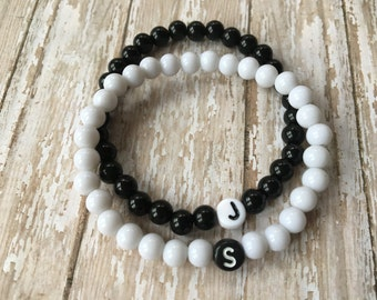 Couples Bracelet Set-Initial Bracelets-Black/White-Ying & Yang-Distance Bracelet Set-Missing Piece