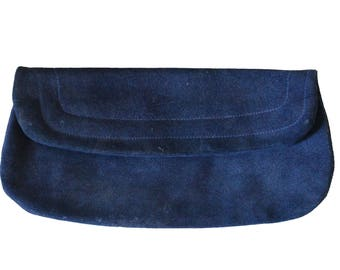 Vintage Dark Blue Suede Leather Clutch Purse