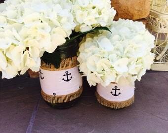 Mason Jar Wrap, Anchor, Natutical, Navy Blue Mason Jar Decoration, Choose Size and Number of Wraps, Wedding, Shower, Party Decoration