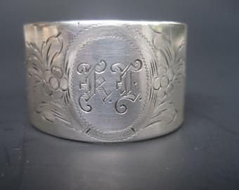Vintage Scandinavian 830 Silver Monogrammed Napkin Ring