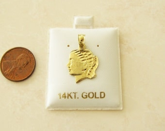 Solid 14K Gold Girl head Pendant/charm, Gift for Mother, Wife