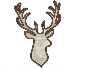 Buck deer head silhouette - machine embroidery applique and filled designs - INSTANT DOWNLOAD, for hoops 5x7 and 6x10