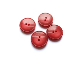 6 Red Buttons, Antique French Buttons