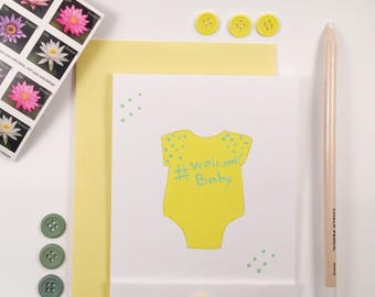 Hand Painted - Welcome Baby - Bay Shower - New Baby Card - Matchbook Style