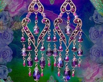 Exotic Garnet & Amethyst Crystal Moroccan Chandelier Earrings, Long Red and Purple Swarovski, Bohemian Jewelry, East Indian Gypsy