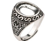 4pcs Antiqued Silver Color  Alloy Metal  Adjustable  Rings 10x14mm Oval Cameo Setting