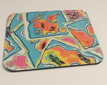 Mouse Pad made with Lilly Pulitzer Fabric X Marks The Spot