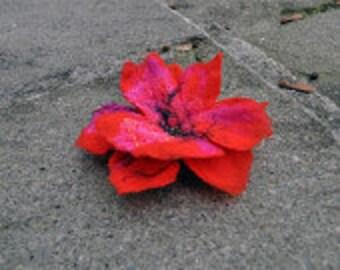 Felt flower, brooch, flower, yellow, red, pink