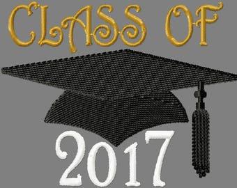 Grad Cap & Tassel Class of 2017 Custom Embroidery Digitized Embroidery Machine Embroidery Digital Design File