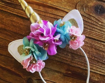 Unicorn Headband  - Unicorn Horn - Unicorn Costume - Unicorn Flower Headband