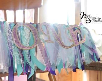 Age/First Birthday high chair smash cake ribbon banner