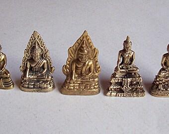 5 Thai Buddhist Buddha Small Mini Statues Goldtone Bronze Brass Set Jewelry Craft Supplies