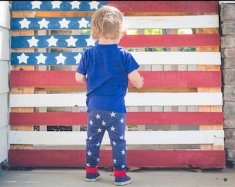 Patriotic Stars leggings Red White and Blue Baby Toddler Kids Girls Boys unisex pants 0 3 6 9 12 18 24 months 2T 3T 4T 5T Fourth of July