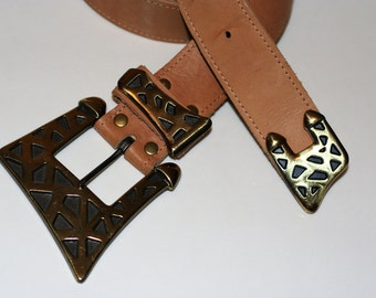 Sexy Sheena Style AVANT GARDE Retro Belt Geometric 80s 90s Real Leather High Quality Excellent Condition