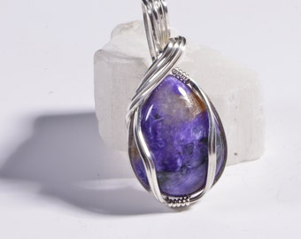 Russian Charoite Wire Wrapped Pendant Sterling Silver Gemstone Jewelry Gift For Her