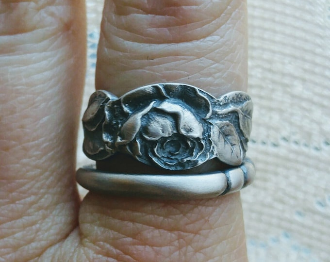 Slender Victorian Rose Ring, Antique Gorham Vintage Sterling Silver Spoon Ring, Flower Ring, Handmade Jewelry, Adjustable Ring Size (6615)